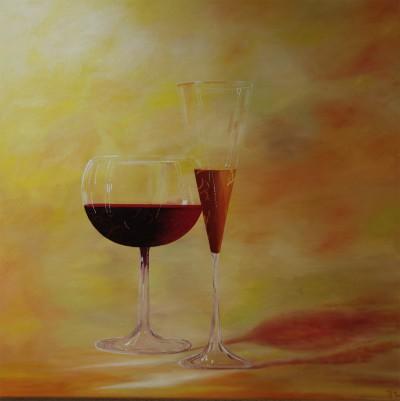2 glazen in feest stemming