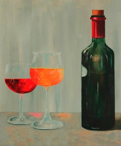 Fles met 2 glazen