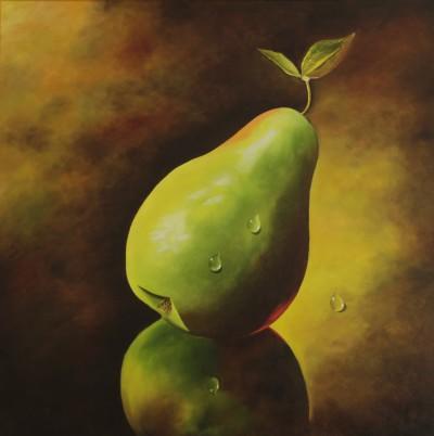 Groene peer met waterdruppels