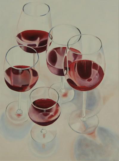 Glazen rode wijn staand