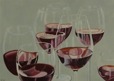 Glazen rode wijn liggend