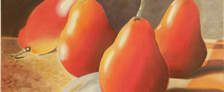 Rode peren op tafel