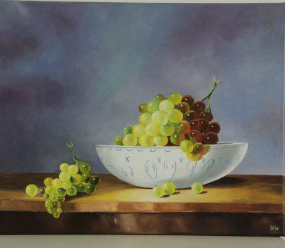 Druiven in fruitschaal
