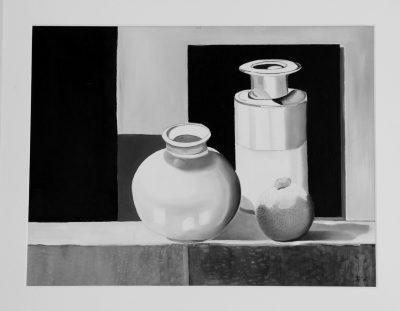 Stenen vazen zwart / wit